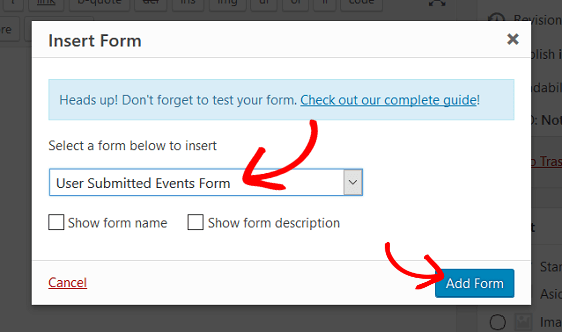 add user submitted events form