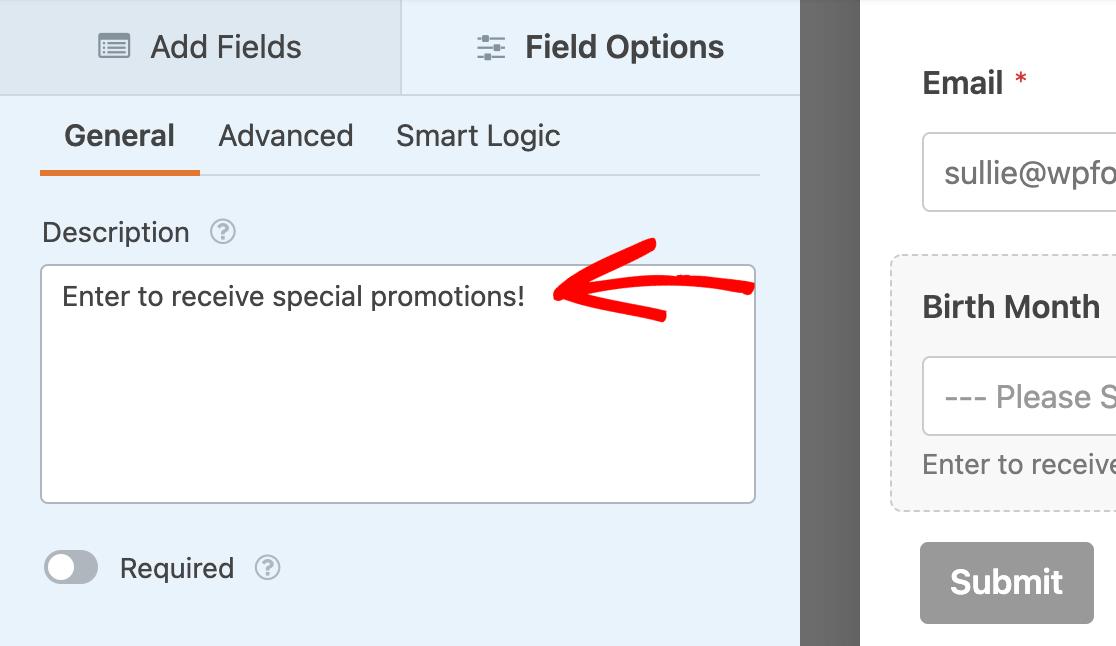Adding description text to a field