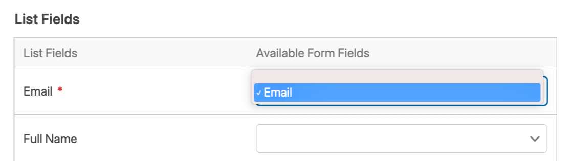 Mapping the Email Address field to your AWeber account