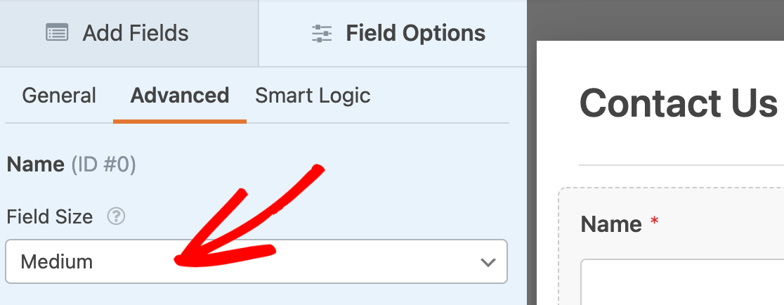 Changing the field size