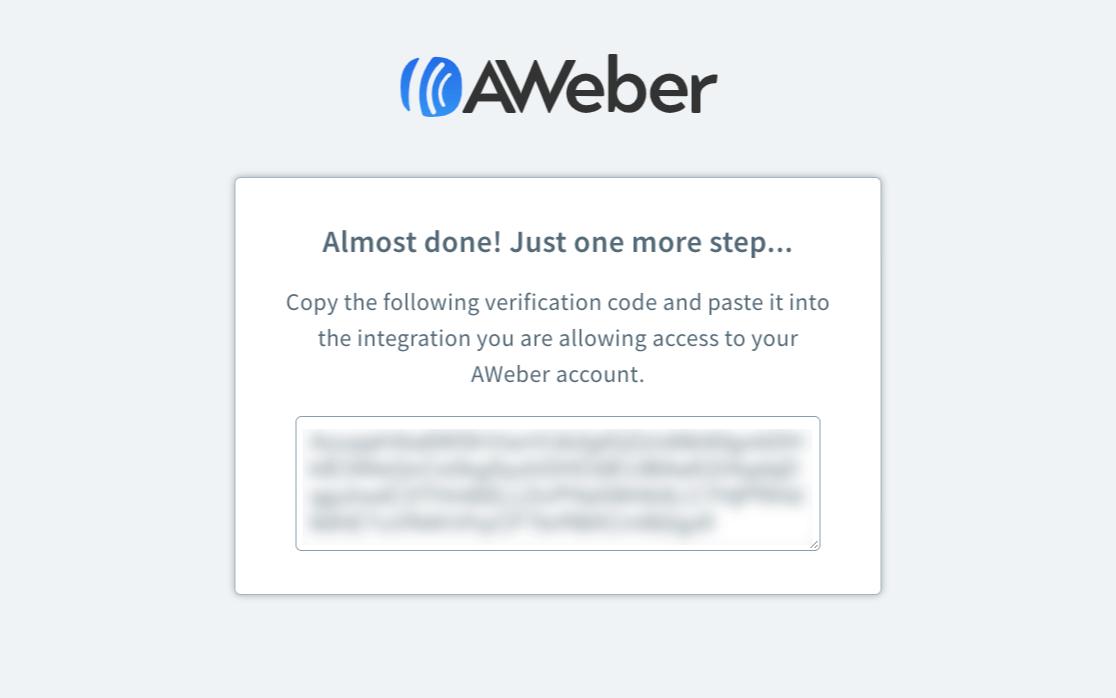 An AWeber authorization code for WPForms