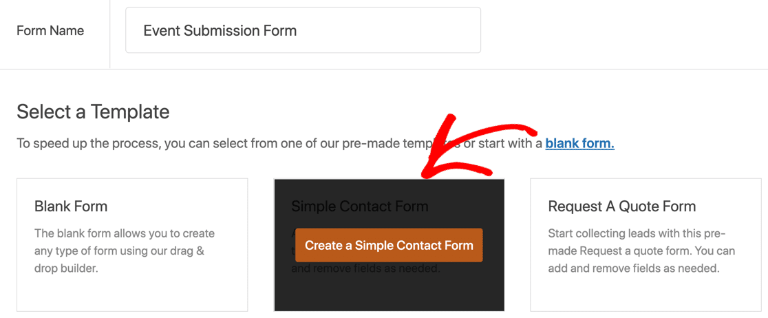 Create a user submitted events form