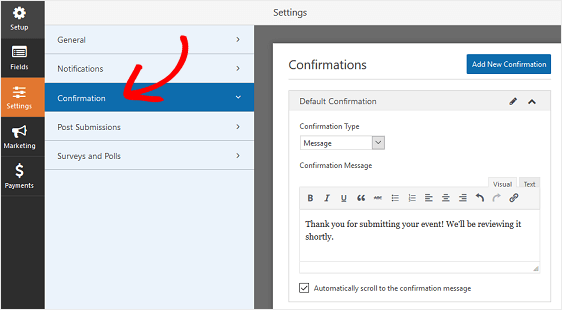 customize confirmation message
