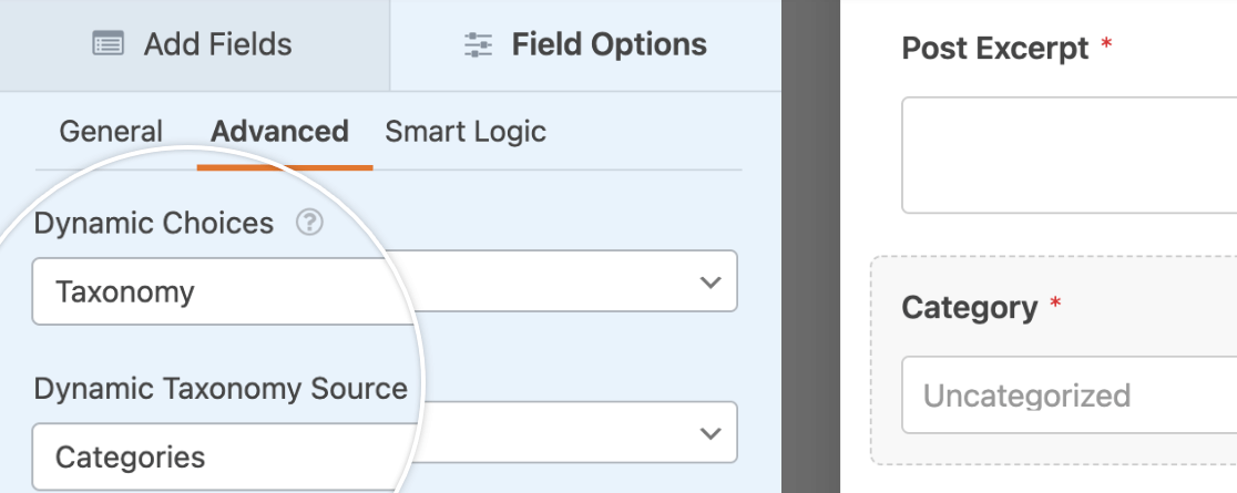 Displaying dynamic choices