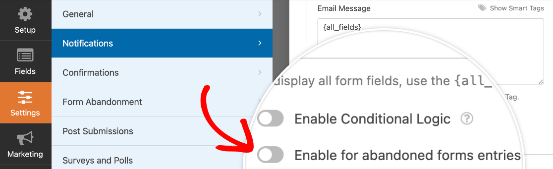 Enabling an abandoned form email notification