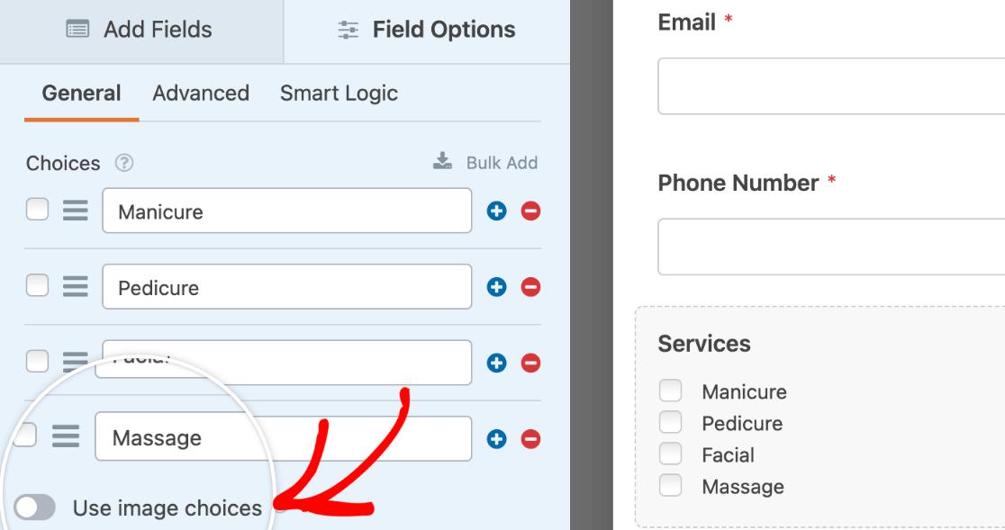 Enabling image options