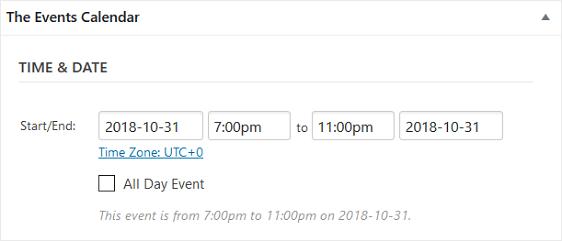 event calendar time