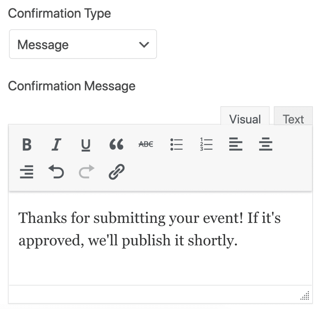 Events form confirmation message