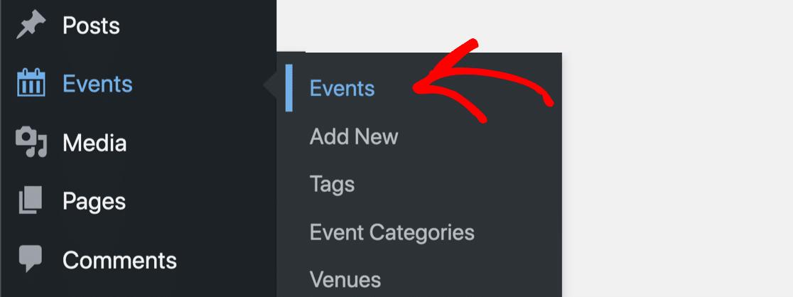 The Events Calendar menu in WordPress