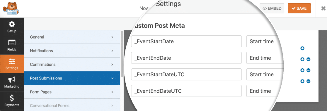 Custom post meta to add user submitted events to WordPress
