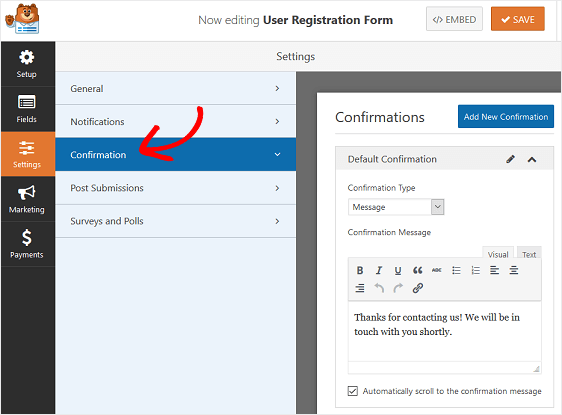 form confirmation settings