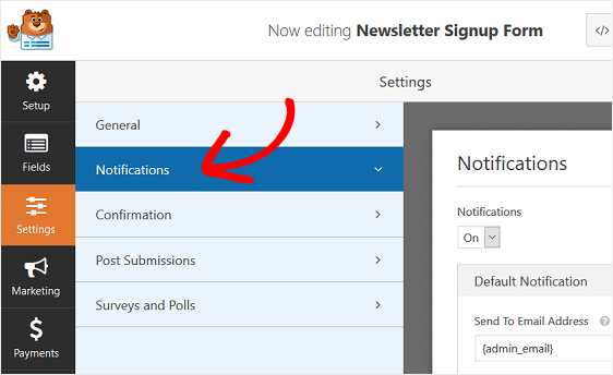 form notification settings