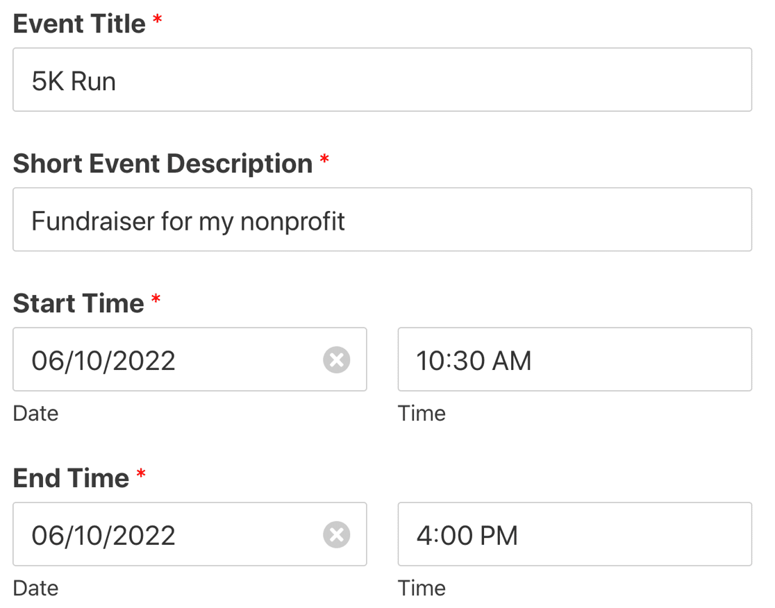 Frontend user submitted events form