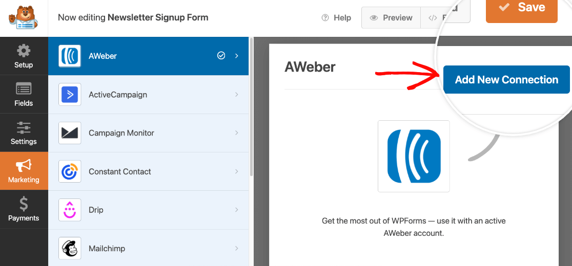Adding a new AWeber connection to a Newsletter Signup form
