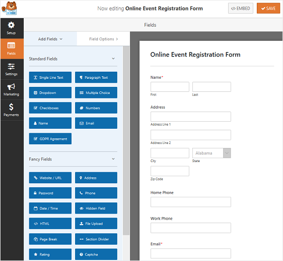 online event registration form