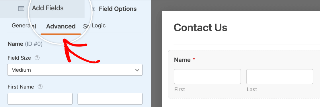 Opening the Advanced Field Options tab