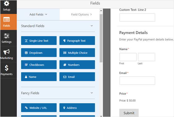 payment section divider