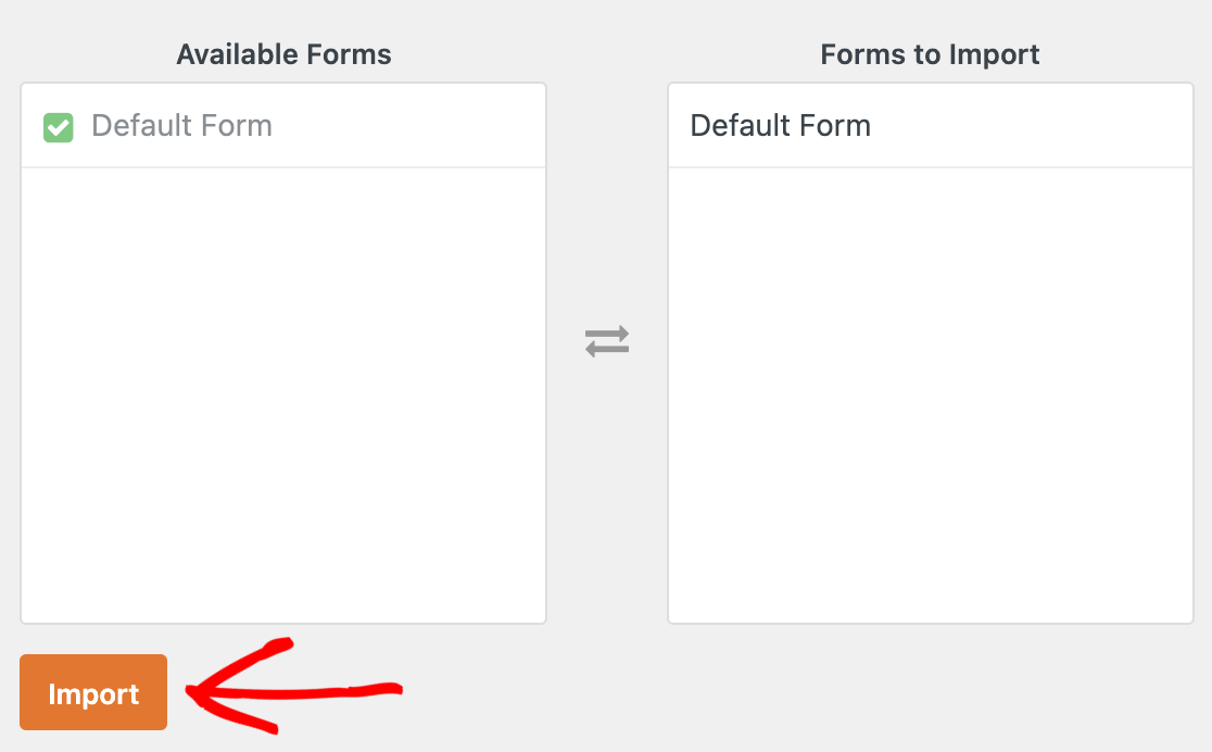 Selecting the Pirate Forms contact form to move it to WPForms