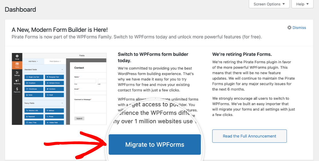 The Migrate to WPForms tool for Pirate Forms