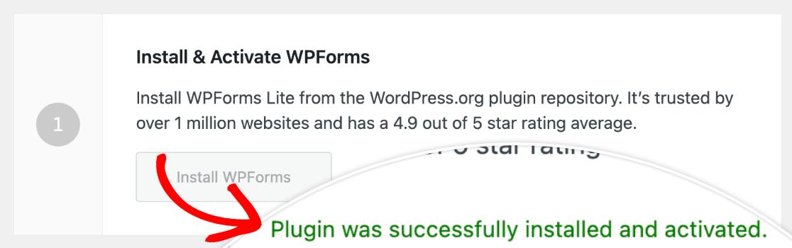 Pirate Forms migration WPForms installation success message