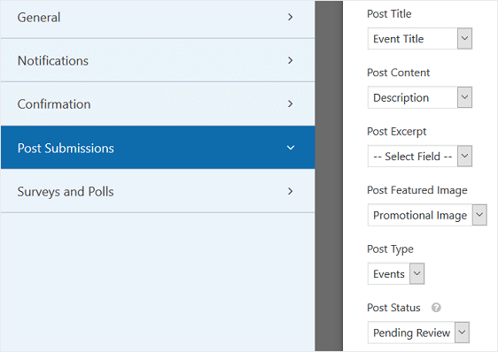 post submissions settings for user submitted events