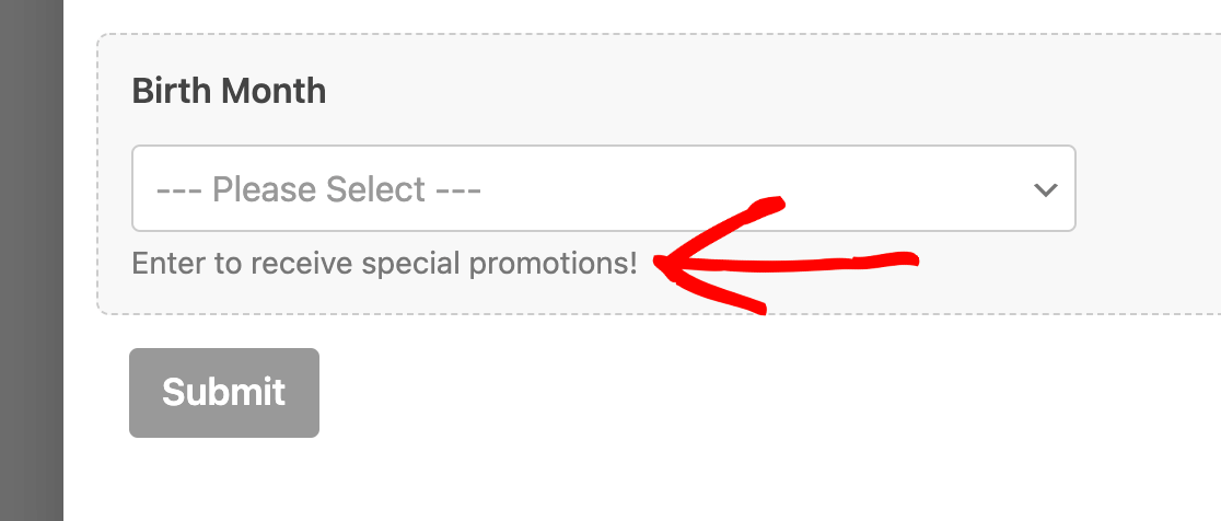 Previewing description text in the form builder