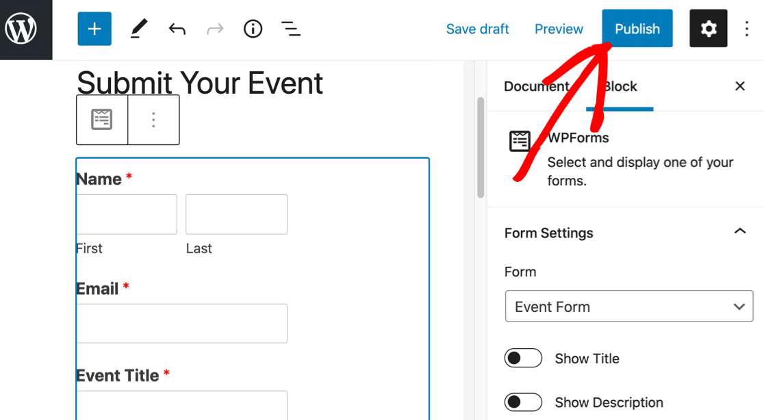 Publish your user submitted events form