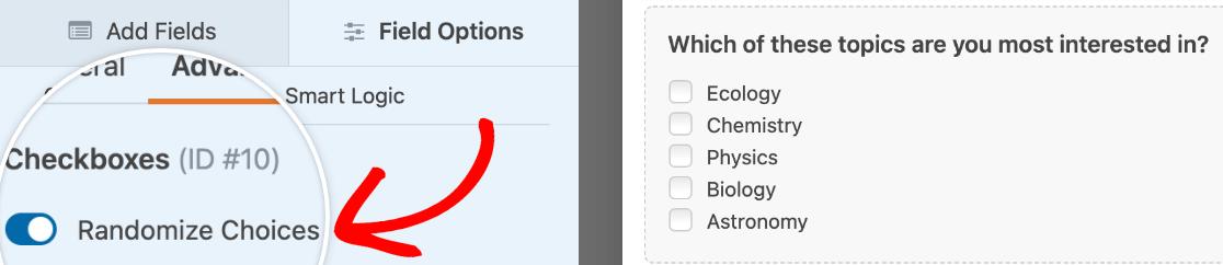 Turning on the Randomize Choices option