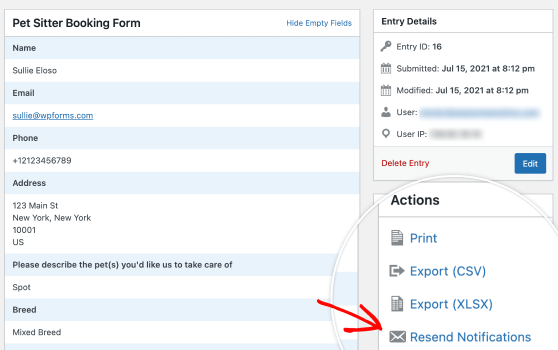 The Resend Notifications action on a form entry page