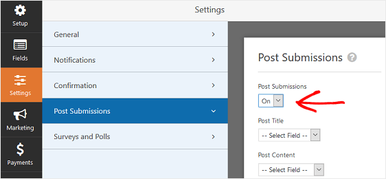 Turn post submissions on for user submitted events