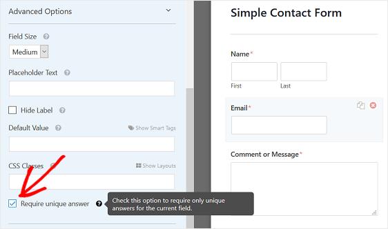 unique answer feature
