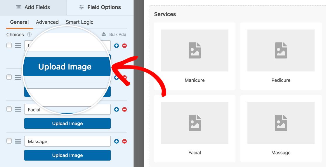 Uploading image choices