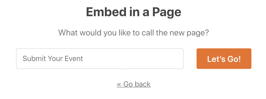 Name your user submitted event page in WordPress