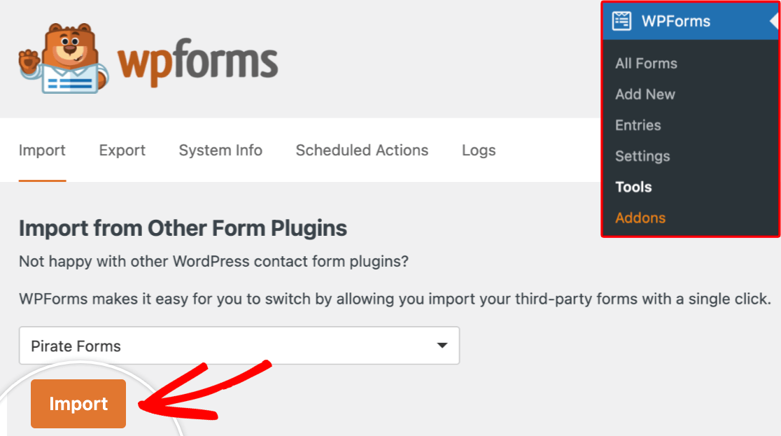 The WPForms Import tool