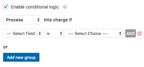 Conditional logic settings in WPForms PayPal addon