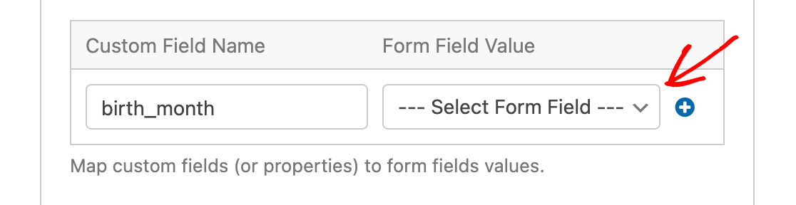 Selecting the form field to map to a custom field in Drip