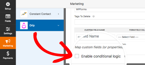 Enable conditional logic for Drip addon in WPForms