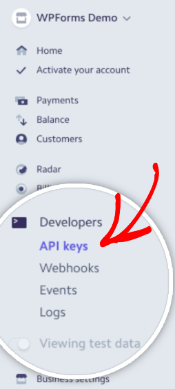 Open API Keys page in Stripe account