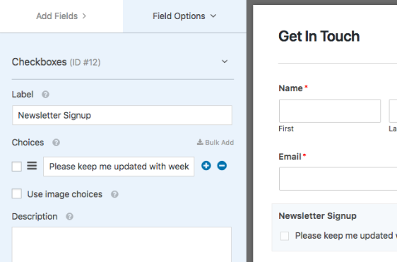 Set up newsletter signup checkbox
