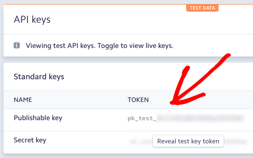 Test keys in Stripe account