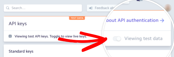 Toggle to view live keys in Stripe account