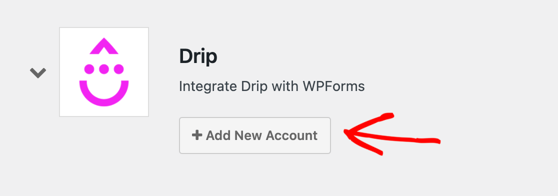 Adding a new Drip account to the WPForms Integrations settings
