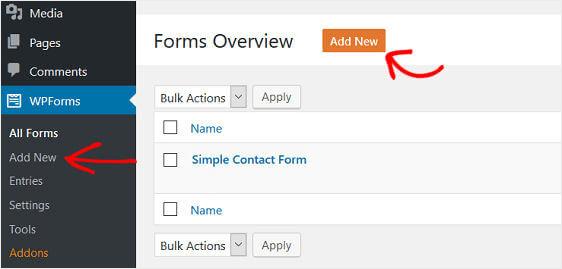 add new wordpress form