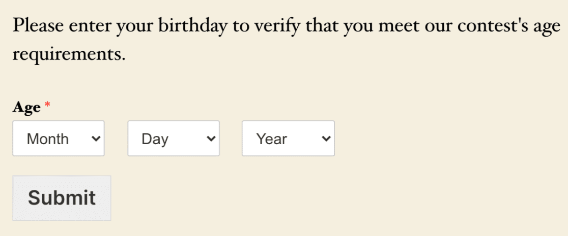 Age verification fields on the frontend