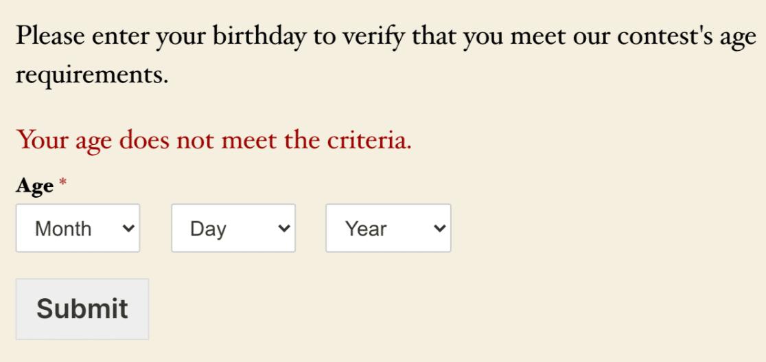 The age verification validation message