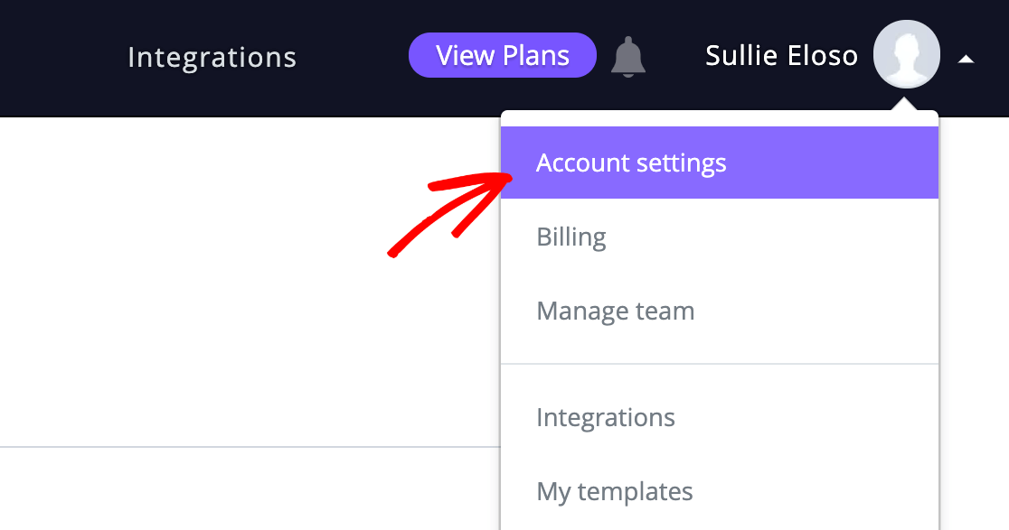 Opening the Campaign Monitor account settings