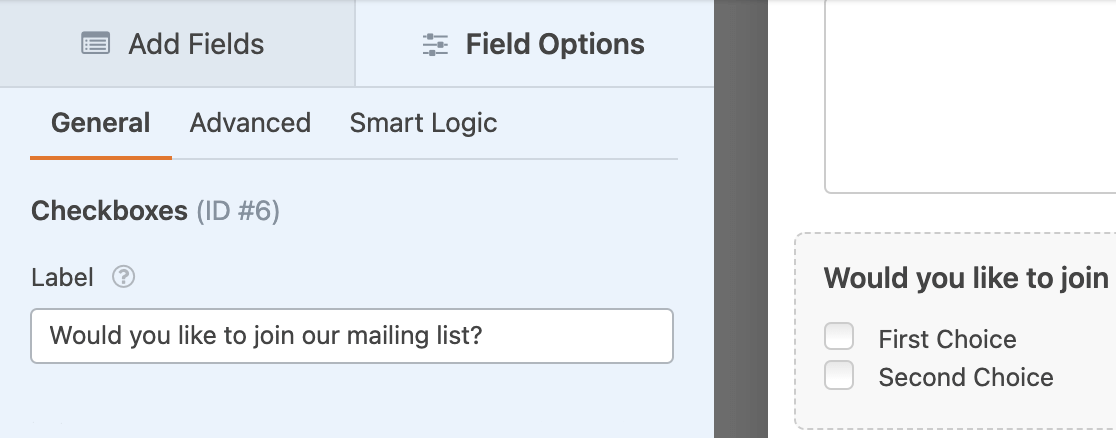 Adding a Checkboxes field to use with conditional logic for a Campaign Monitor connection