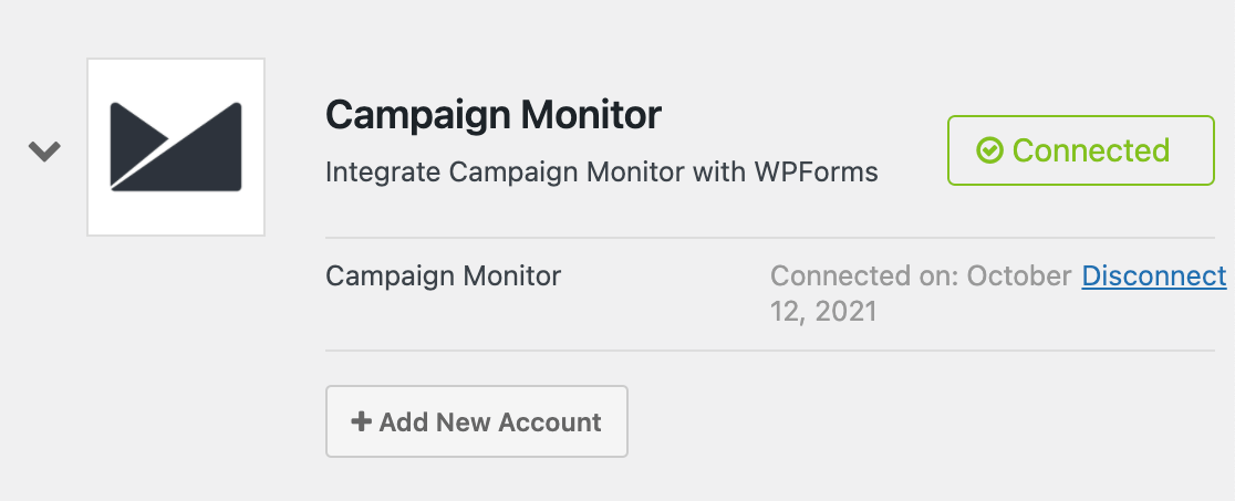 Campaign Monitor connection status in WPForms