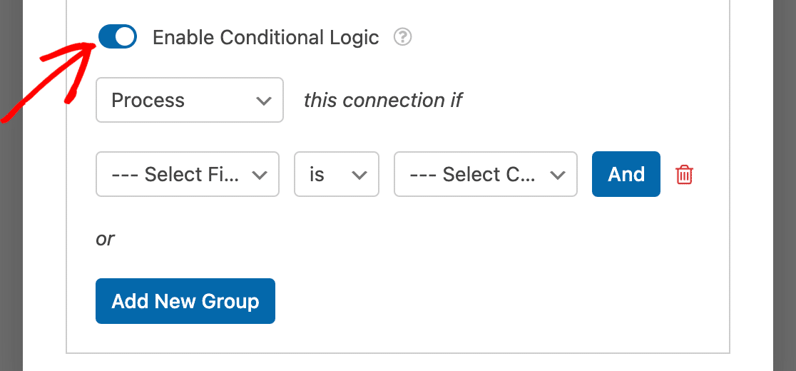 Enabling conditional logic for a Campaign Monitor connection