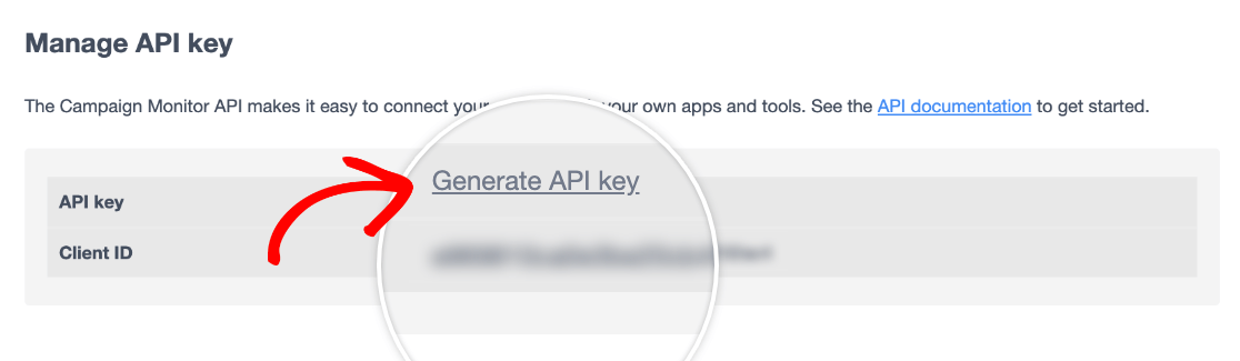 Generating an API Key in Campaign Monitor